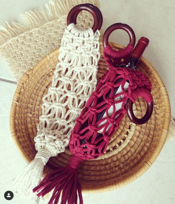 natural cotton and wine red tshirt yarn wine totes